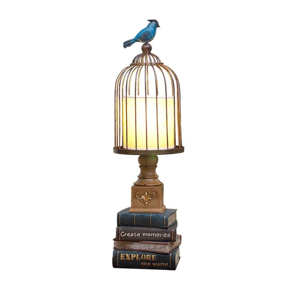 Лофт синий смола птица настольная лампа металлическая клетка абажур Американский Кабинет Настольная лампа декоративный дом настольная ла