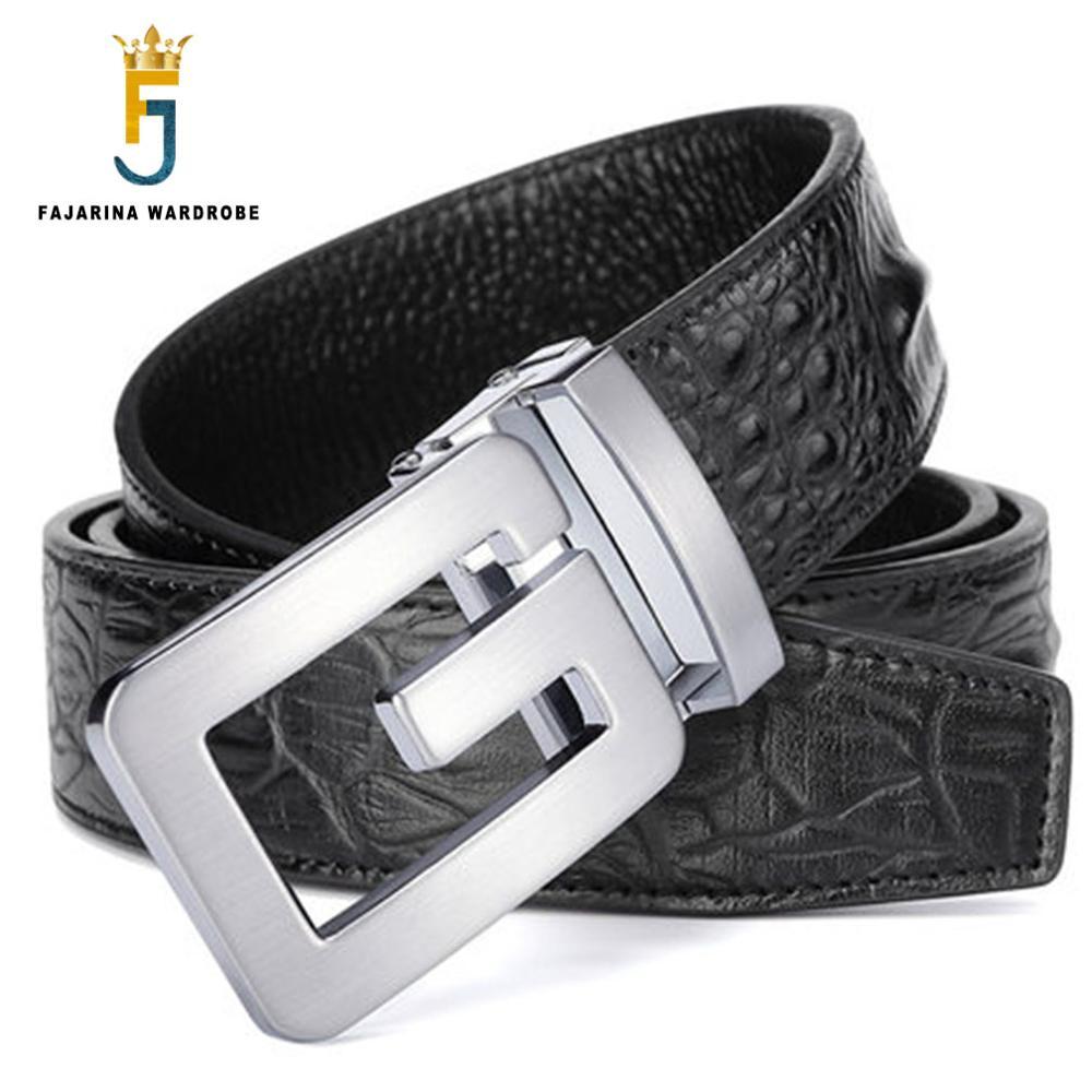 FAJARINA Brand Name Men's High-grade Crocodile Pattern 100% Cowhide Leather Belt Letter Smooth Belts Men Freeshipping LUFJ585