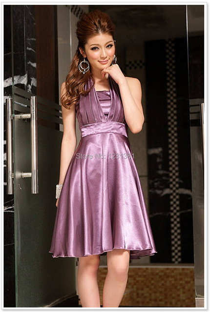 Hot Woman Ladies Elegant Dinner Shiny Halter Ruffle Patry Pron A Lined Dress Free Shipping Violet