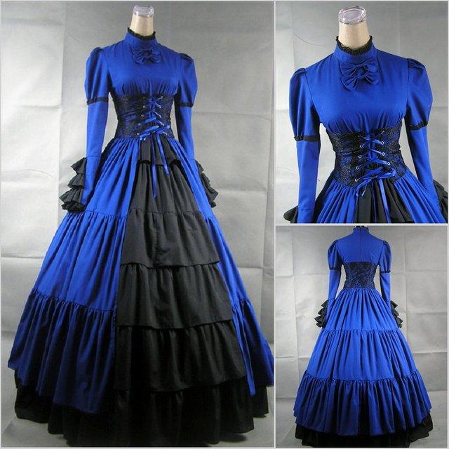 Vintage Victorian Lolita Dress Evening Party Bandage Long -4888