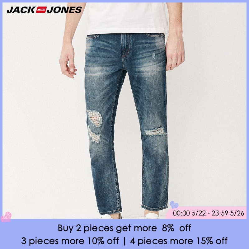 Jack & Jones Brand fasion holes cotton and linen slim long male   jeans   |217232518