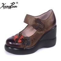 Xiangban Hecho A Mano de La Vendimia de Las Mujeres Bombea Los Zapatos De Cuero Cuñas de Suela Gruesa Cabeza Redonda Superficial Zapatos Solo K225K33
