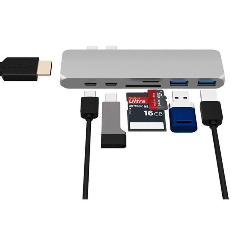 7 in1 USB-C Centro Dual tipo-C multipuerto adaptador de lector de tarjetas 4 K HDMI para el MacBook Pro