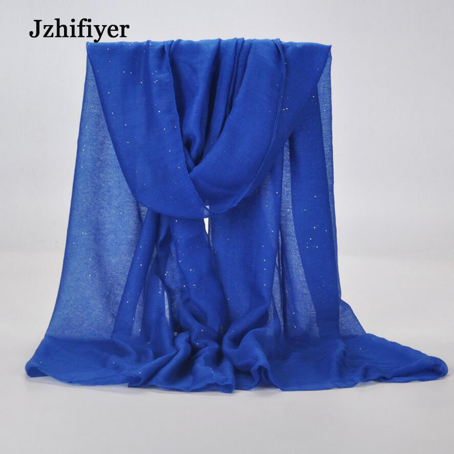 jzhifiyer XZWJ02 90G 90*180cm Long Viscose Scarf Plain Bronzing Shawls Sequins Muslim Headband Scarfs Many Colors