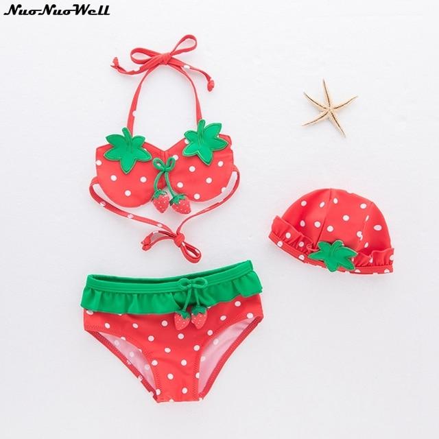 d0a743502ad0 Baby Swimsuit Girl Bikini Swimsuit Cute Kids Bathing Suit Baby Girl Swimwear  Skirt 3pcs Elegant Hat