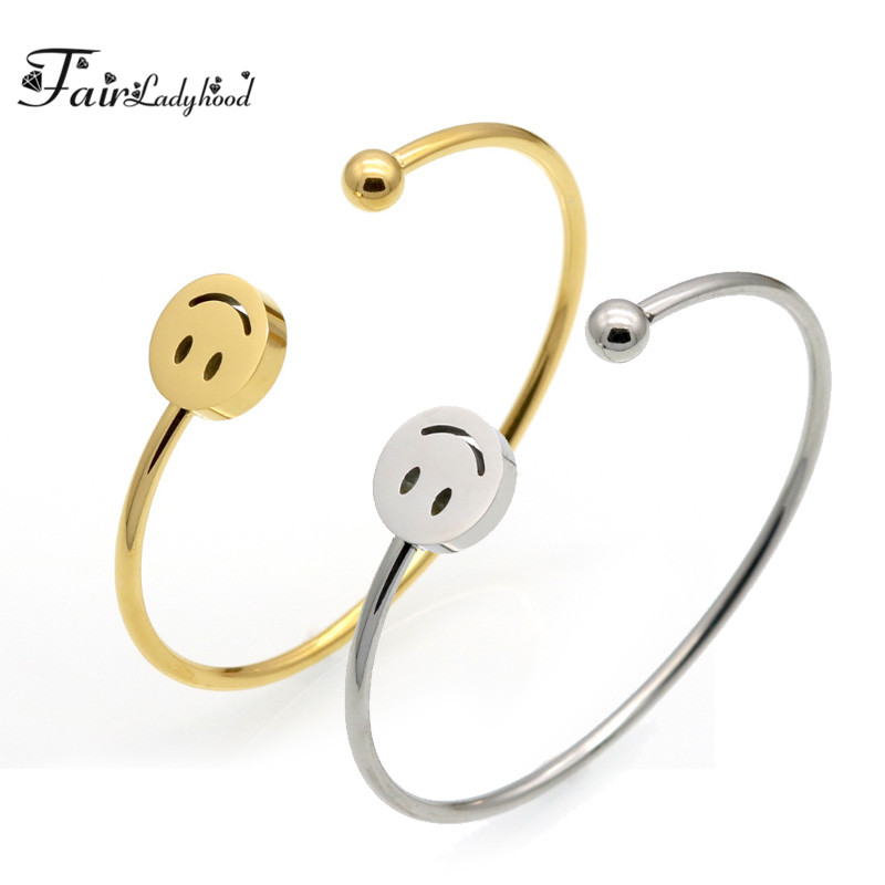 Fairladyhood Adjustable Open Stainless Steel Bracelet Bangles 2 Color Cuff Smile Face Bangle For Women Jewelry Gift For Girls