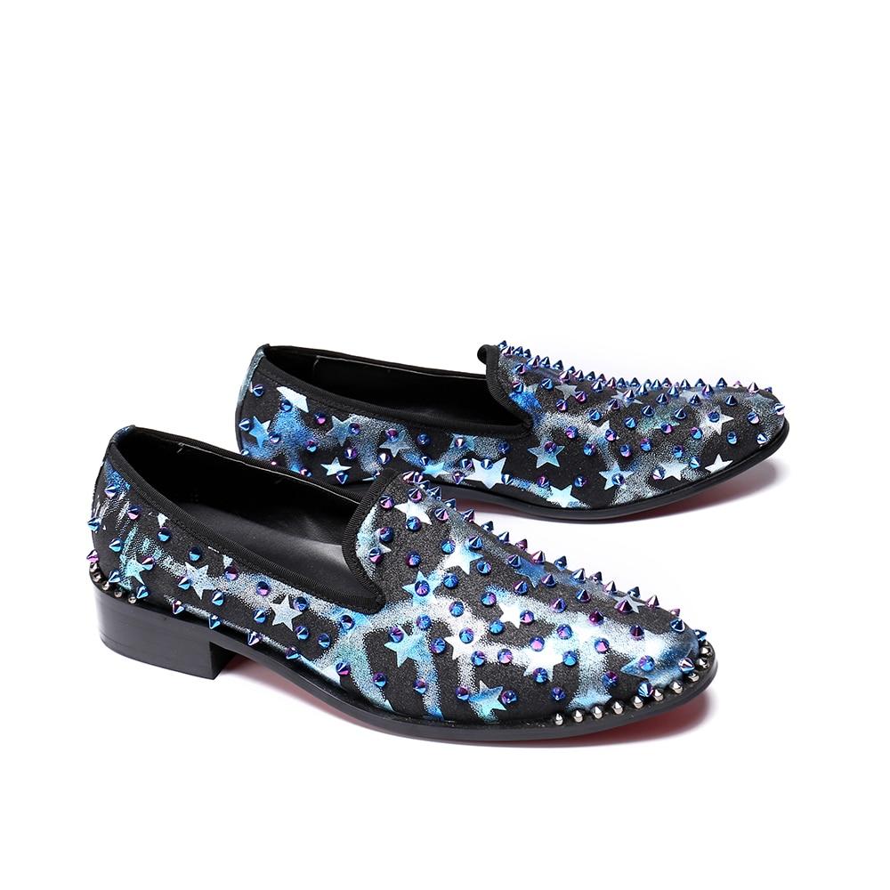 Hombres Estilo Genuino De Los Fiesta Cuero Mocasines Remaches rojo Casual Christia Multicolor Planos Bella Azul Moda Slip Nueva Zapatos Británico 0xwqYTOA8