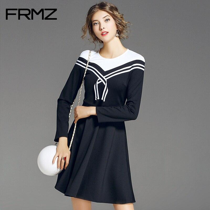 FRMZ Women Dress Fashion Long Sleeve Preppy Style Party Dress Female 2017 New Autumn A-Line O-Neck Above Knee Mini Dresses