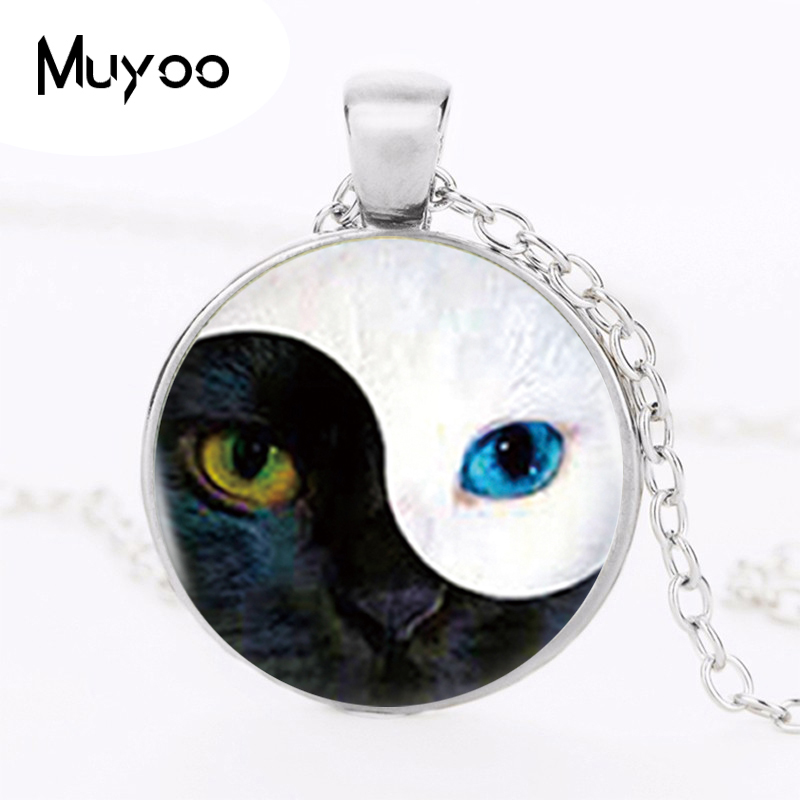 Wholesale Different Cat Pendant Yin Yang Cat Necklace Vintage Silver Chain Choker Statement Necklace Women Jewelry