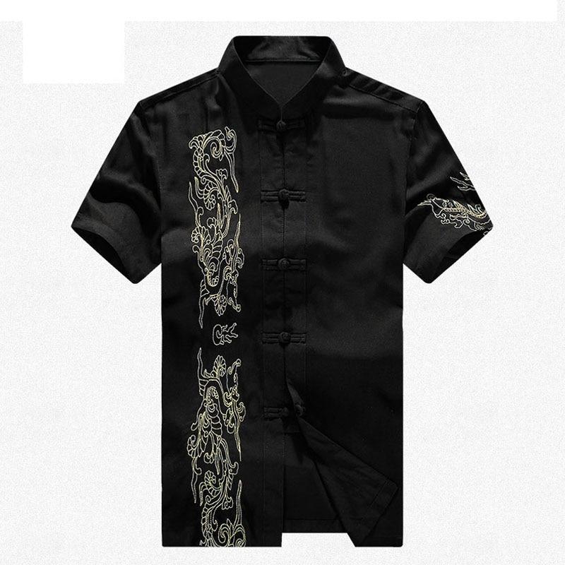 Marque nouveauté chinois traditionnel hommes coton broderie Dragon Kung Fu dessus de chemise M L XL XXL 3XL MS2015030