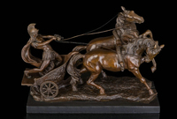 Art Deco Sculpture Rome Chariot Warrior Soldier Drive Two Horses Bronze Statue R0713