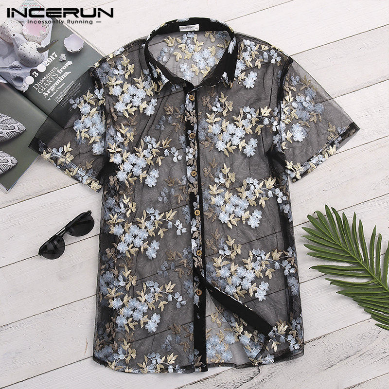 Men's Shirt Short Sleeve Transparent Flower Embroidered Mesh Sexy See Through Club Party Tops Men Lace Shirts S-5XL INCERUN