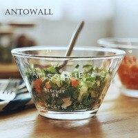 ANTOWALL Glass fruit salad bowl dessert breakfast cereal snack transparent glass bowl vegetable cooking bowl