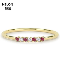 Genuine Ruby Diamond Wedding Band Solid 14k Yellow Gold Stackable Engagement Women Ring Ruby July Birthstone Rose White Gold