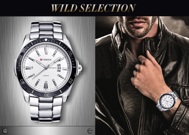 Mens Watches Top Luxury Brand CURREN 18 Men Full Steel Watches Quartz Watch Analog Waterproof Sports Army Military WristWatch 6