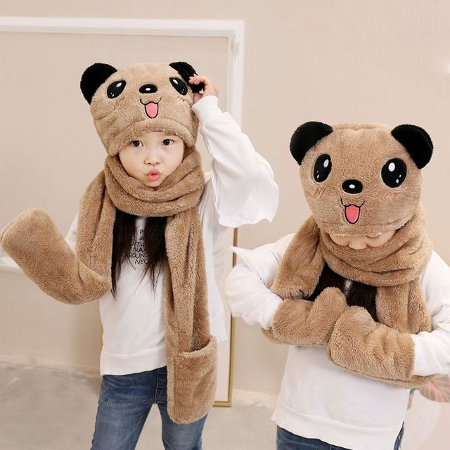 Candice guo plush toy stuffed doll cartoon animal winter bear ted teddy  panda warm scarf hat christmas present birthday gift 1pc 942aac864ccd