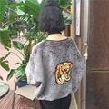 Mujeres Cabeza Del Tigre Diseños Parche Bordado Sudaderas Harajuku Otoño Invierno Más Tamaño Sueltan Casual Soft Fleece Sudaderas Con Capucha