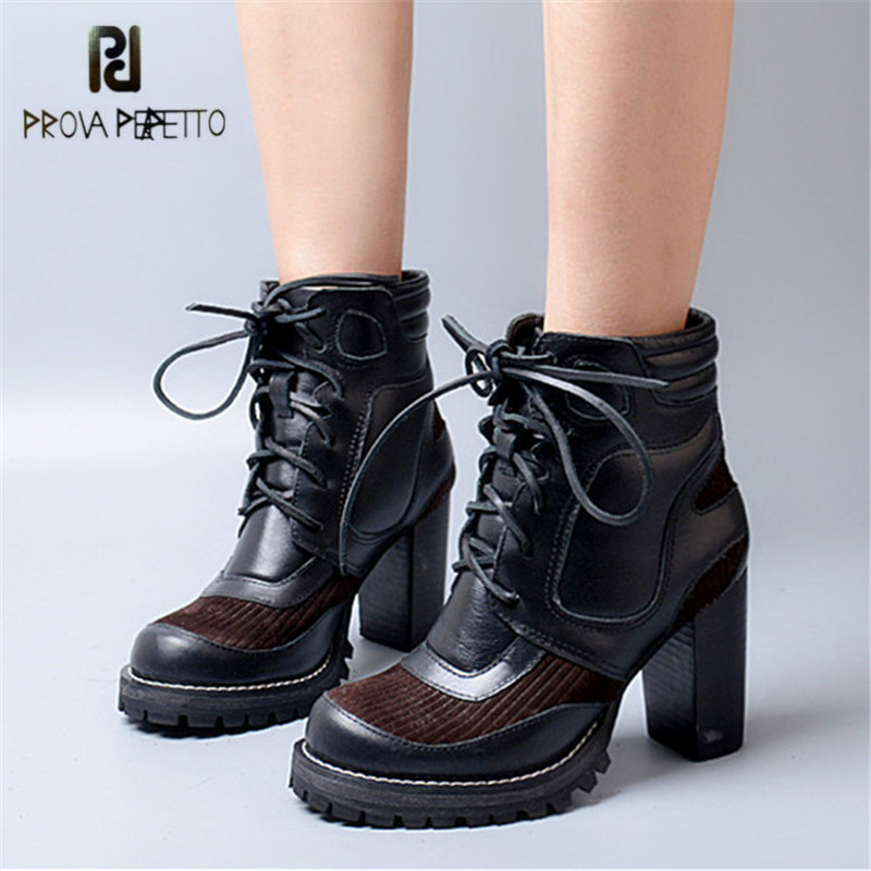 Prova Perfetto Patchwork Round Toe Women High Heel Ankle Boots Black Genuine Leather Women Platform Pumps Autumn Winter Botas nayiduyun women genuine leather wedge high heel pumps platform creepers round toe slip on casual shoes boots wedge sneakers