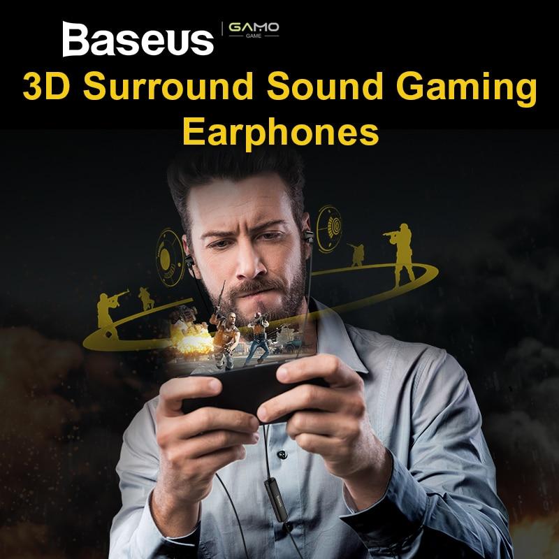 Baseus H08 Réel 3D Stéréo Jeu Filaire Écouteurs 3.5mm Jack pilote double avec Mic pour PS4 Gaming Écouteur Téléphone Musique auriculares
