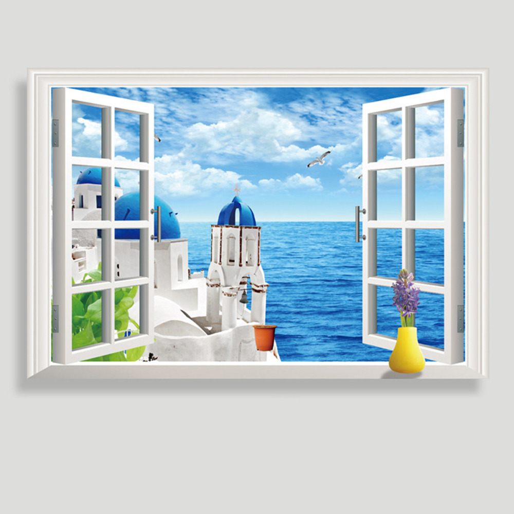 Popular beach window murals buy cheap beach window murals for Beach wall mural sticker