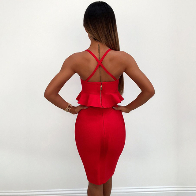 Sexy 2 Piece Sets Women Bandage dress