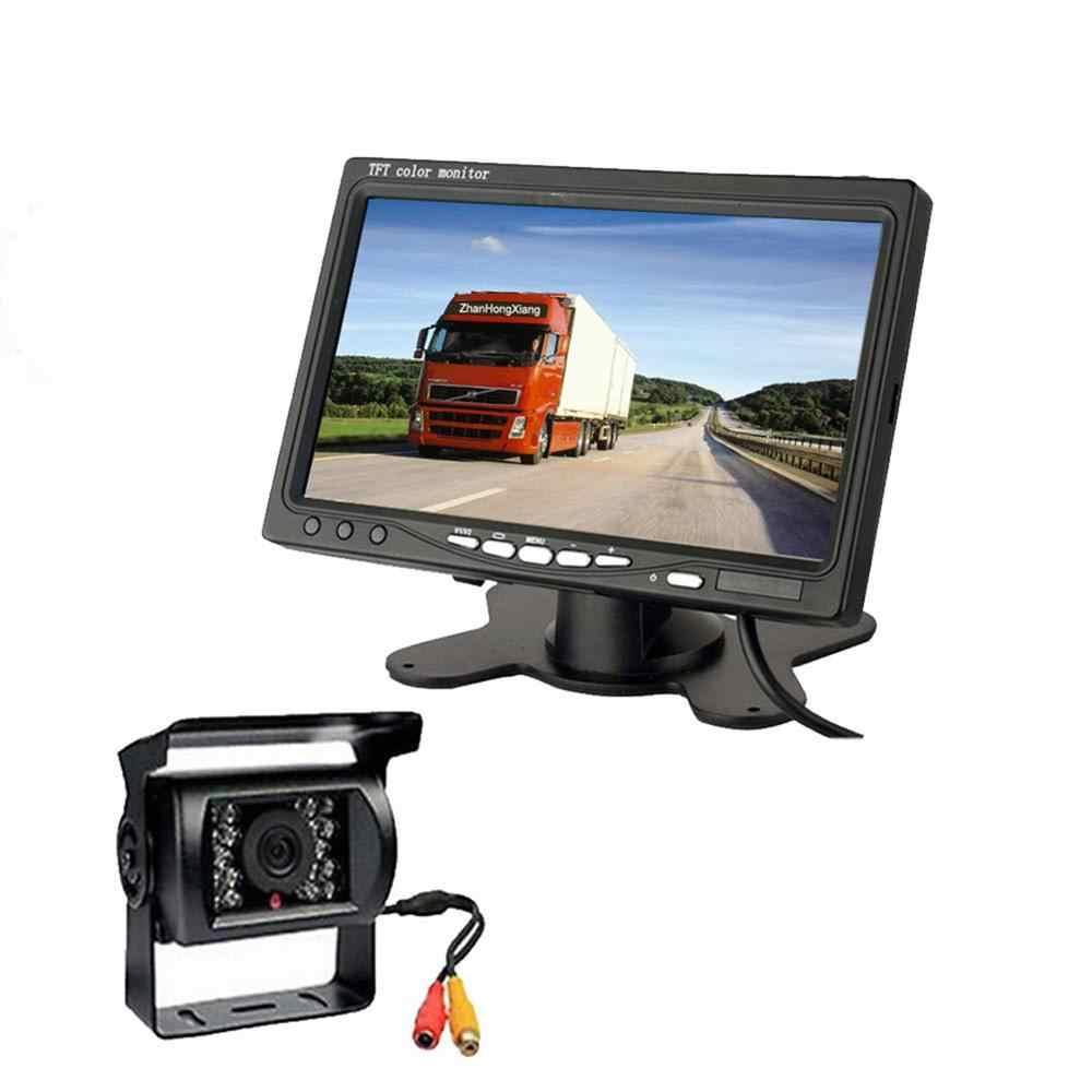12-24V 7 pulgadas pantalla del Monitor del coche DvD Monitor LCD del coche Kit de visión trasera del coche cámara de visión trasera para la cámara de marcha atrás del coche del camión del autobús