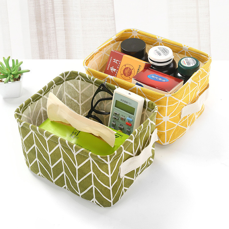 Storage Basket DIY Office Desktop Sundries Folding Linen Toy Cosmetic Storage Box Canvas Waterproof Jewelry Makeup Storage Bags