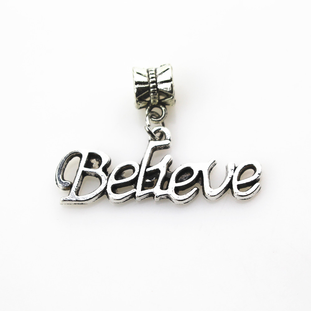 20pcs/lot believe charms hanging charm big hole pendant beads fit women bracelet & bangle diy jewelry dangle charms