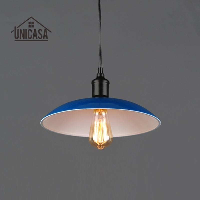 ФОТО Modern Pendant Lights Blue Shade Fixture Wrought Iron Lighting Kitchen Island Bar Office Hotel Antique Mini Pendant Ceiling Lamp