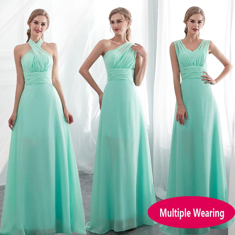 2020 Candy Color Elegent Long Chiffon A-Line Bridesmaid Dresses Vestido Da Dama De Honra Wedding Party Dress Plus Size Customize