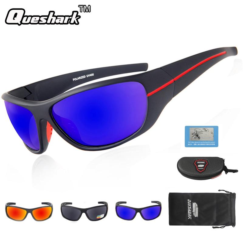 Queshark UV400 Polarized Sunglasses Fishing Glasses Cycling Bike Bicycle Outdoor Motorcycle Driving Hunting Hiking Sport Eyewear
