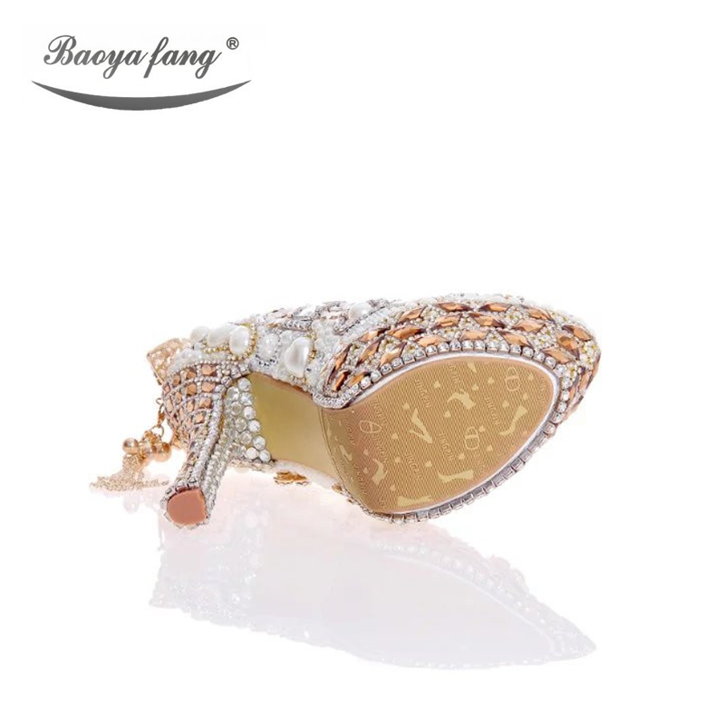 Luxury cyrstal wedding shoes with matching bags woman fashion High heels Women party dress shoes round toe Platform shoes