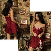 Lace Silk Solid Sleeveless Sexy Dress Women Night Club Lingerie Underwear