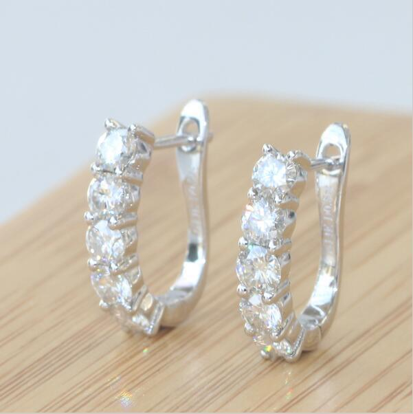 Solid 585 White Gold 1 Carat Tcw Wedding Engagement Party Dia mond Stud Earrings For Women Test Positive For Women Gift