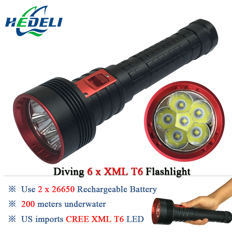 10000 lumens Powerful diving flashlight led torch 6x CREE XML T6 2X 26650 Rechargeable Battery Portable Underwater Lights 2016 new flashlight 18000 lumens high power 15x xml t6 led torch 1000m lighting distance hunting light by 4x 26650 battery