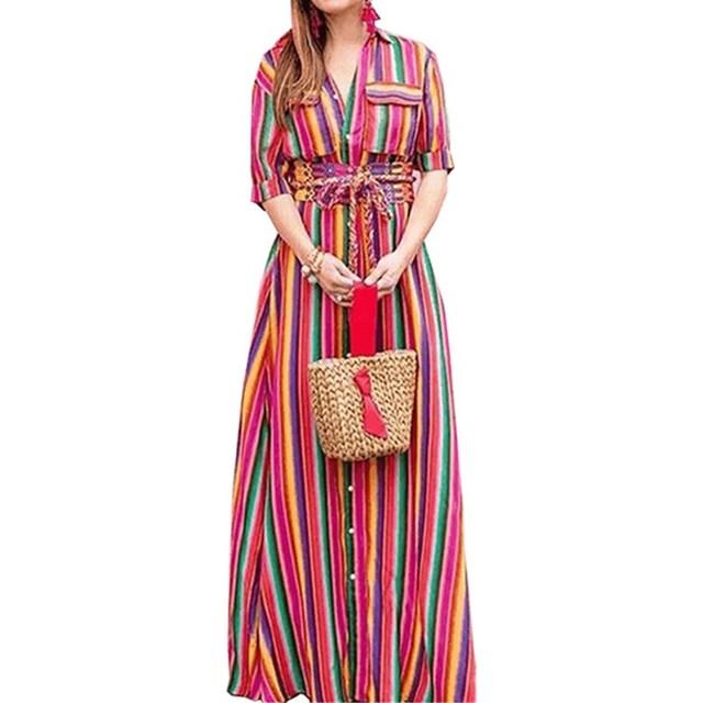 3b3d09b3f9300 Wuhaobo Boho Long Dress Rainbow Striped Shirt Dresses Women 2018 Summer  Half Sleeve Buttons Pocket Maxi Dresses Beach Party Robe
