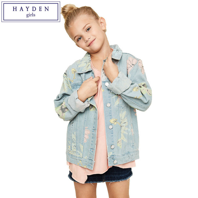 56f0c9d259a2 HAYDEN Girls Floral Print Jeans Jacket Kids Denim Jackets 2017 Spring New  Fashion Brand Teenagers Outfit Child Outerwear Coats