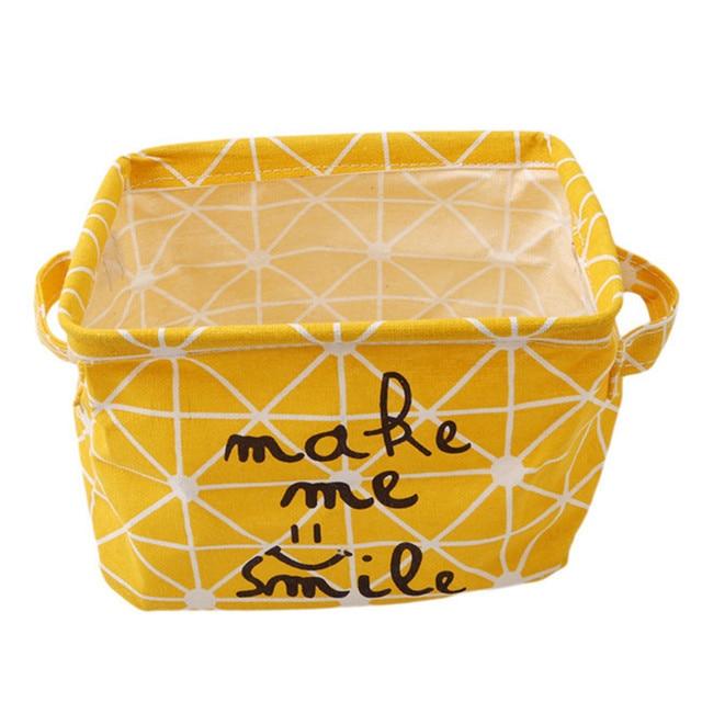 Charmant Cute Linen Home Storage Box Desk Organizer Office Folding Yellow Storage  Basket Jewelry Cosmetic Makeup Snacks