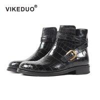 2019 Vikeduo классика крокодил ретро мужские ботинки ручной работы на заказ Зимние Модные Роскошные офисные пояса из натуральной кож