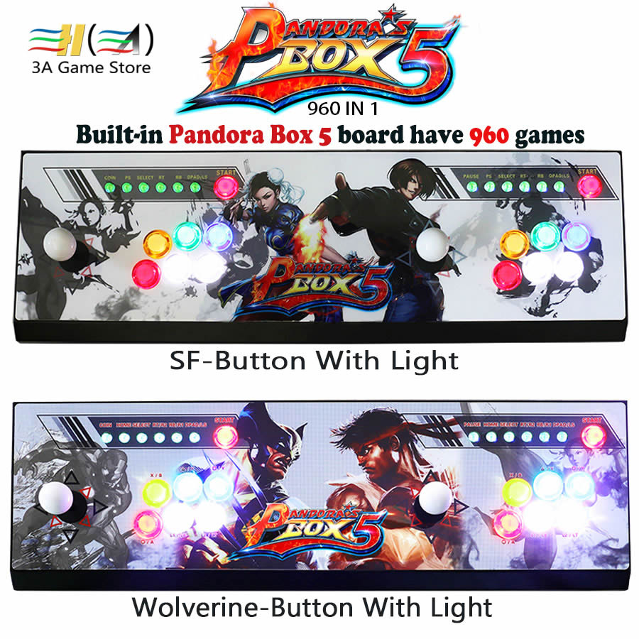 Pandora's box 5 960 in 1 game arcade console usb joystick arcade buttons with light 2 players control machine pandora box 5 HD jamma game console kit vertical screen shooting motherboard raiden v simulator shooting arcade game console kit for game machine