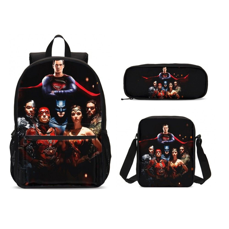2019 Justice League Prints School Backpack For Teenager Boys Laptop Bags Kids Superhero School Bag Set 3 Chiladren Black Bookbag