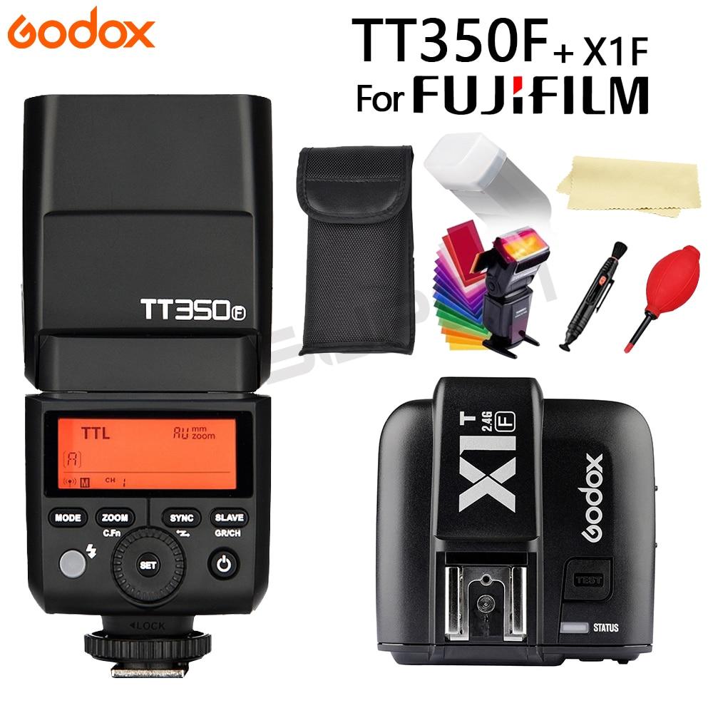 Godox Flash TT350 TT350F GN36 2.4G TTL Camera Flash Speedlite for Fujifilm fuji Cameras + X1T-F Trigger Transmitter+Gift godox v860iic v860iin v860iis x1t c x1t n x1t s hss 1 8000s gn60 ttl flash speedlite 2 4g transmission godox softbox filter