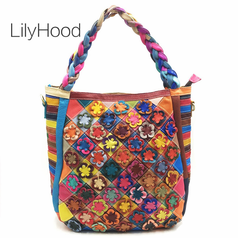 LilyHood Genuine Leather Large Tote Bags for Work Women Fashion Cow Leather Top Handle Bag with Zipper Bohemian Boho Chic Bag цена