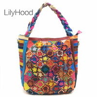 LilyHood Genuine Leather Large Tote Bags for Work Women Fashion Cow Leather Top Handle Bag with Zipper Bohemian Boho Chic Bag