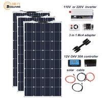 Boguang 300w solar panel 12V 24V + 30A controller +110 Volt 220V 1000w Power Inverter Off Grid 12 Volt Battery System 300 watt