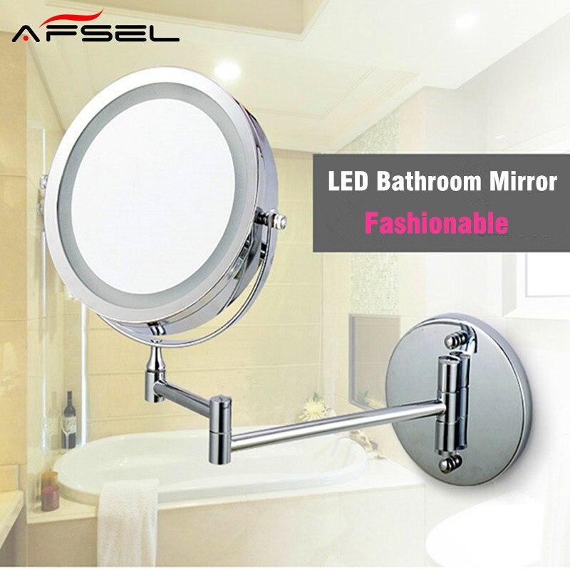 AFSEL Ampliar Plegable de Doble Cara Espejo de Maquillaje LED Montado En La Pared LED Luz espejo del Baño Espejo De Tocador Espejo de aumento de 10x