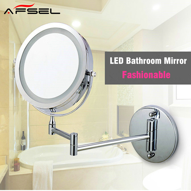 AFSEL Makeup Mirrors LED Wall Mounted Extending Folding Double Side LED Light Mirror 10x