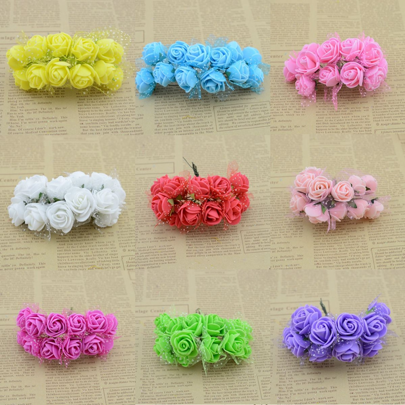 2.5CM Diameter(12pcs/lot)head Multicolor PE Rose Foam Mini artificial silk Flowers Bouquet Solid Color/wedding decoration