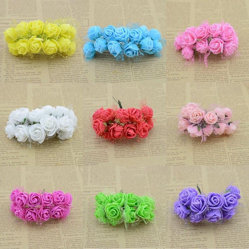 2.5CM Diameter(12pcs/lot)head Multicolor PE Rose Foam Mini artificial silk Flowers Bouquet Solid Color/wedding decoration