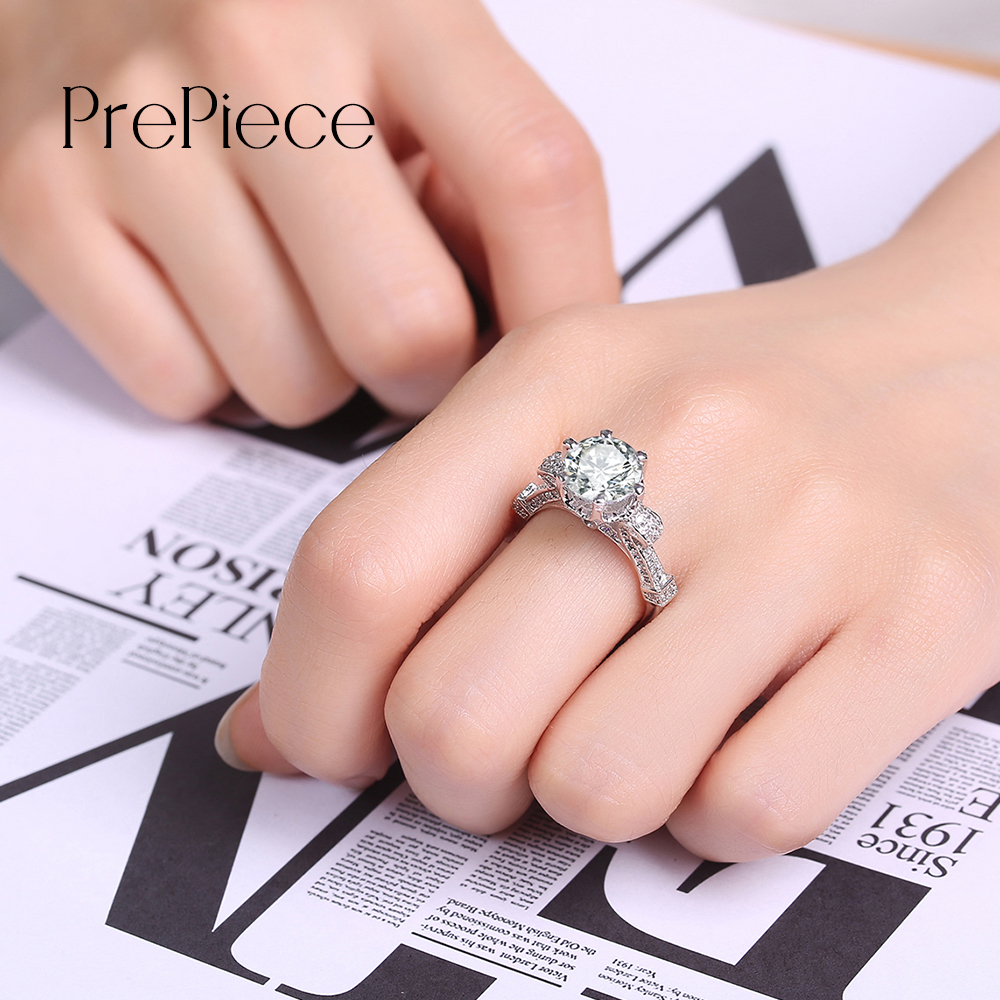 Prepiece Luxurious Round Big CZ Stone Wedding Jewelry Solitaire ...